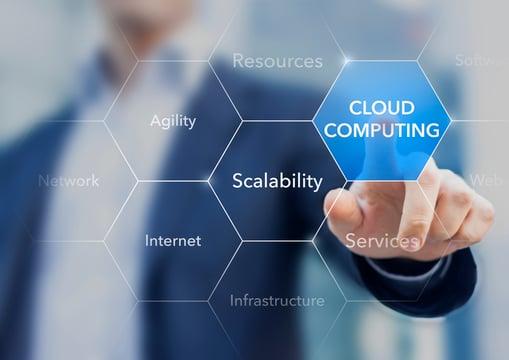 man clicking cloud computing on screen