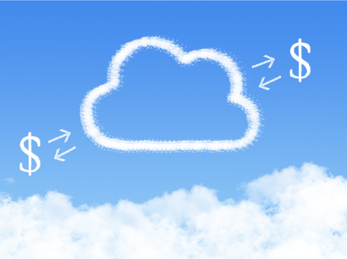 Cloud with money and arrows pointing back and forward.